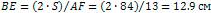 BE = (2 * S) / AF = (2 * 84) / 3 = 12.9 см